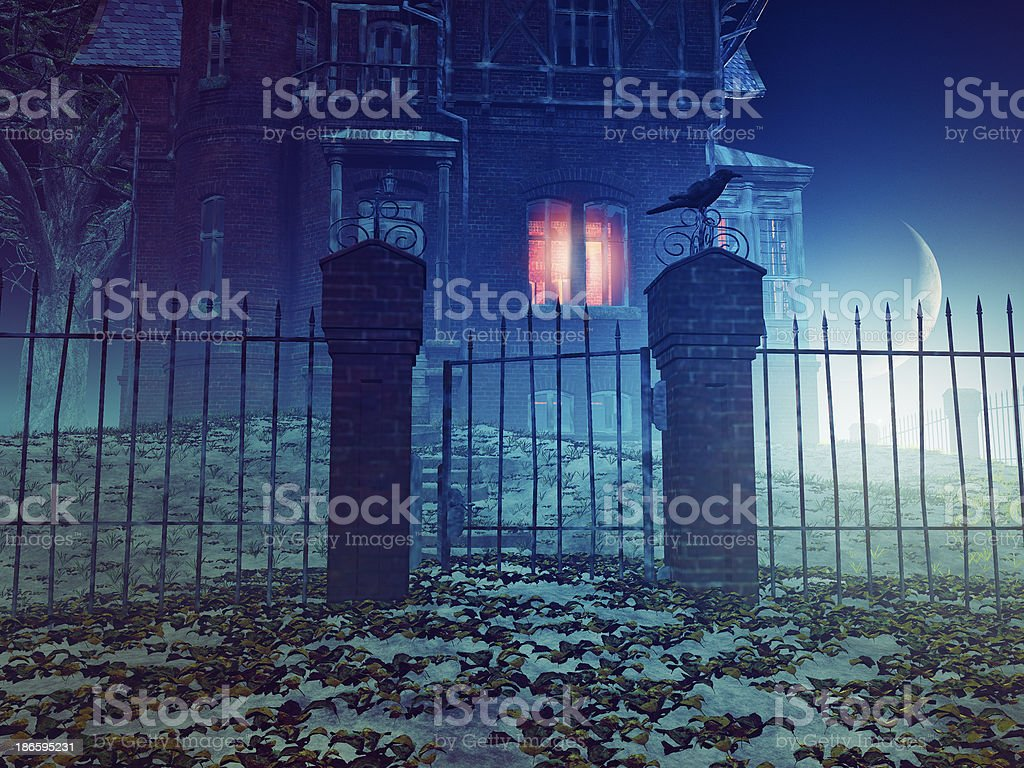 Spooky haunted house at night stock photo
