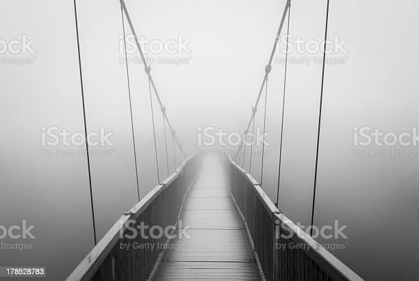 Photo of Spooky Heavy Fog on Suspension Bridge Vanishing into Creepy Unknown