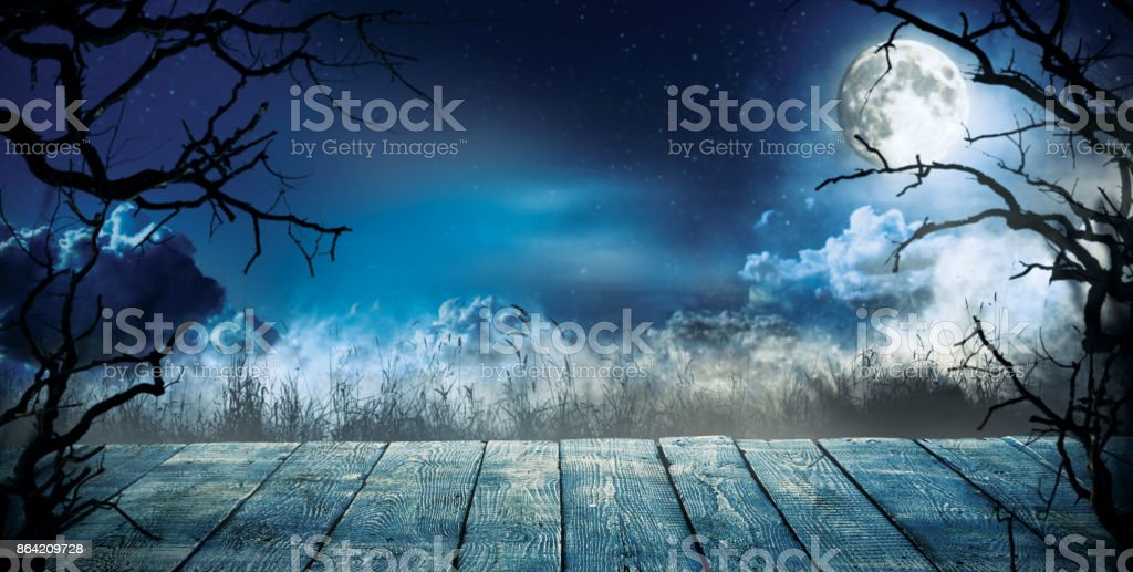 Spooky horror background with empty wooden planks royalty-free stock photo