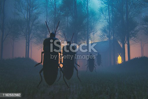 Spooky insect priest in the forest at night. This is entirely 3D generated image.