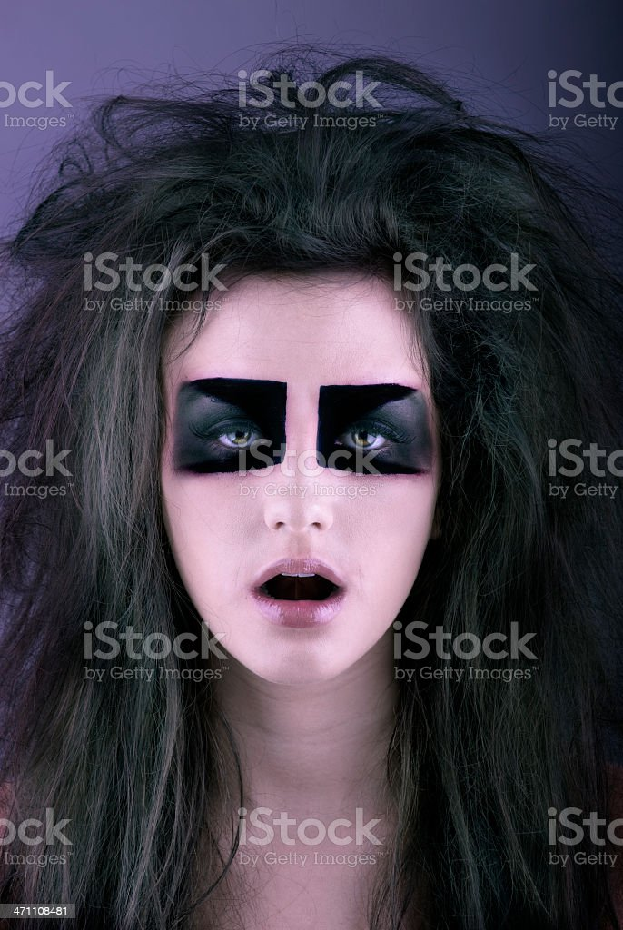 Spooky Model Holds Mouth Open royalty-free stock photo