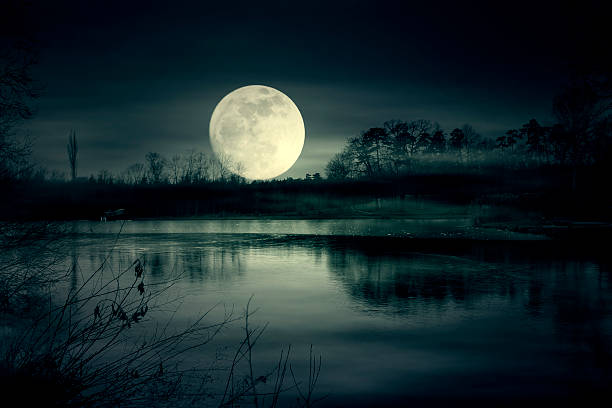 spooky moonrise over lake - romantic moon stock photos and pictures