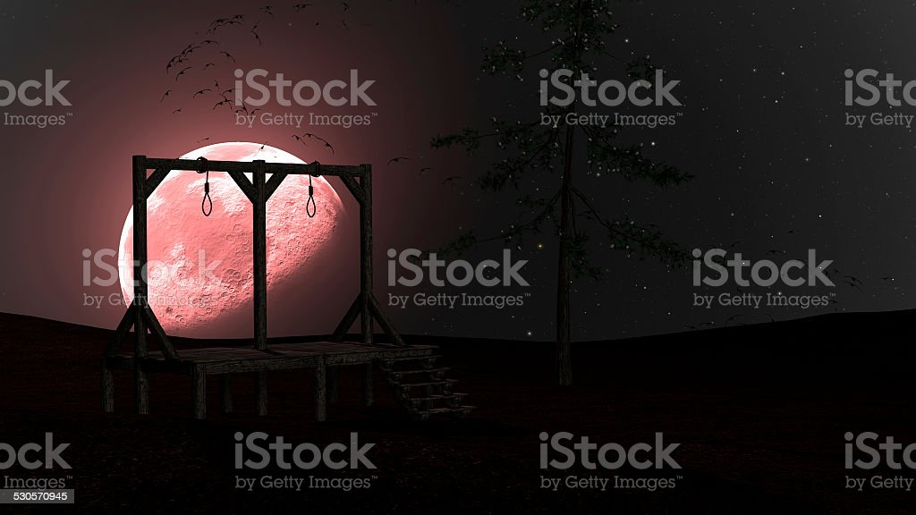 Spooky Night background with Gallows, Crows and Red Moon stock photo