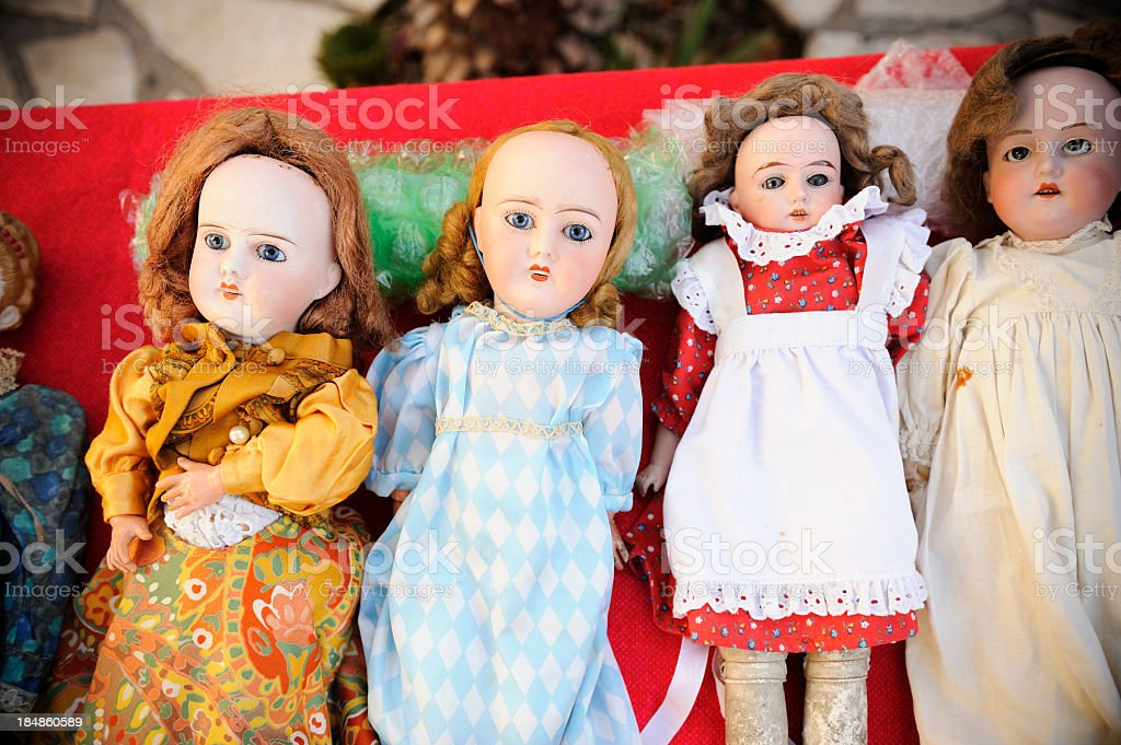 Spooky Old Dolls stock photo