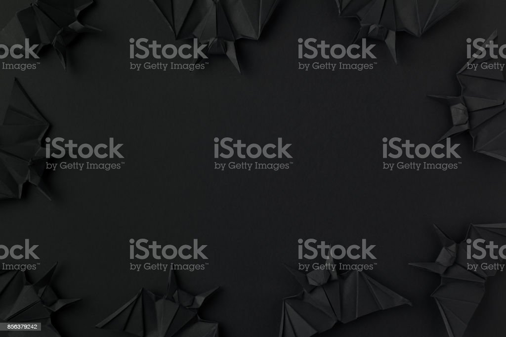 spooky origami bats stock photo