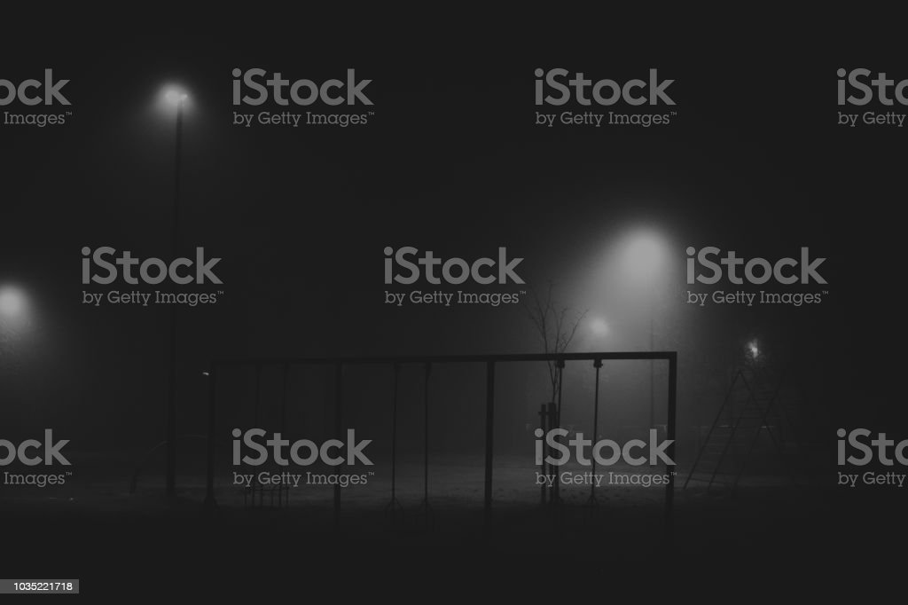 Spooky Playground In Night Stock Photo Download Image Now Istock