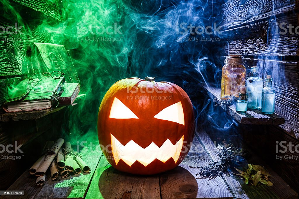 Spooky pumpkin for Halloween party stock photo