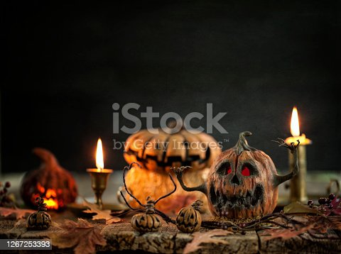 Spooky Pumpkin Jack O' Lantern Background on Wood