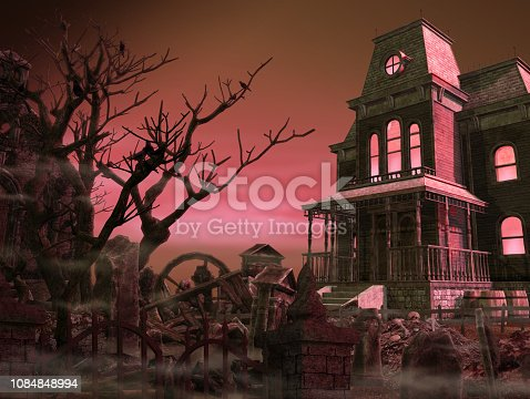 Spooky, scary mansion surrounded by an old graveyard halloween night, 3d render illustration