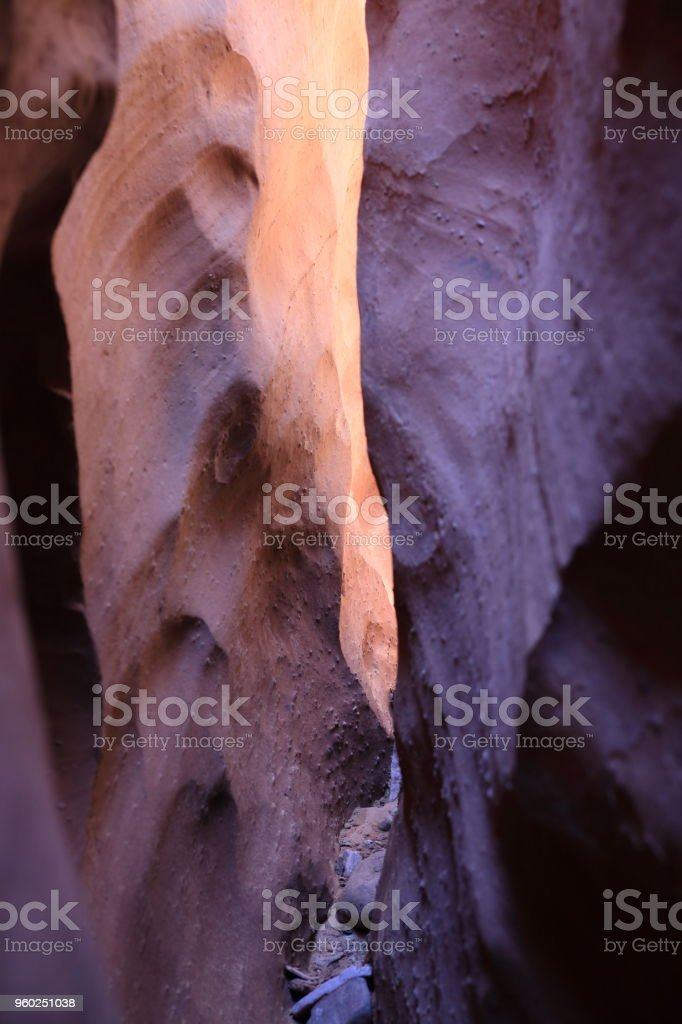 Spooky Slot Canyon, Hole in the Rock Road, Grand Staircase Escalante National Monument, Garfield County, Utah, USA stock photo