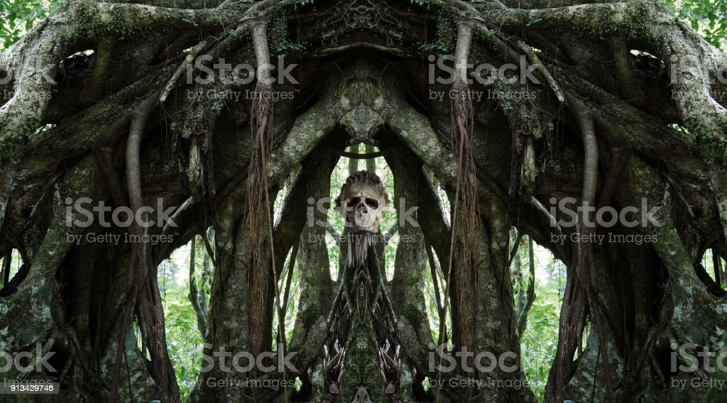 spooky Voodoo scull on altar in the jungle stock photo