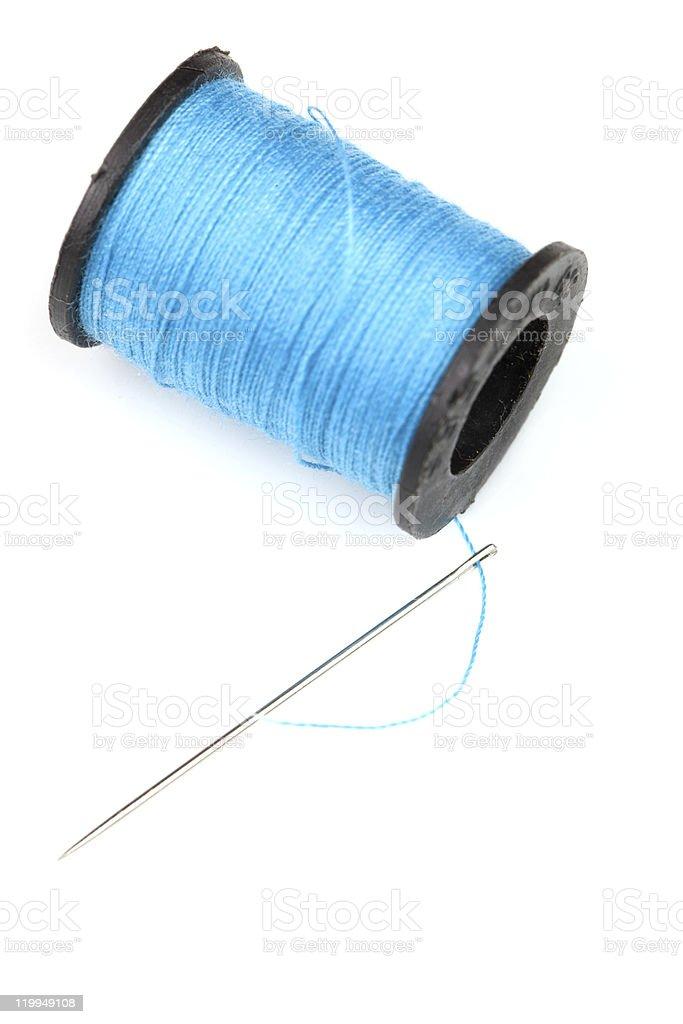 spool of blue thread royalty-free stock photo