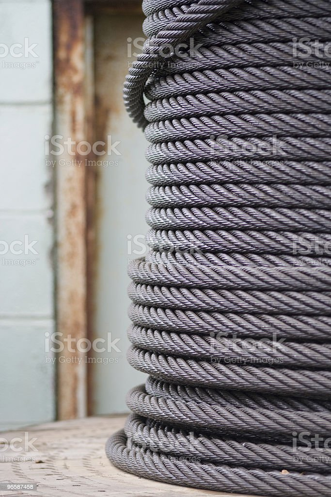 Spool of industrial rope stock photo