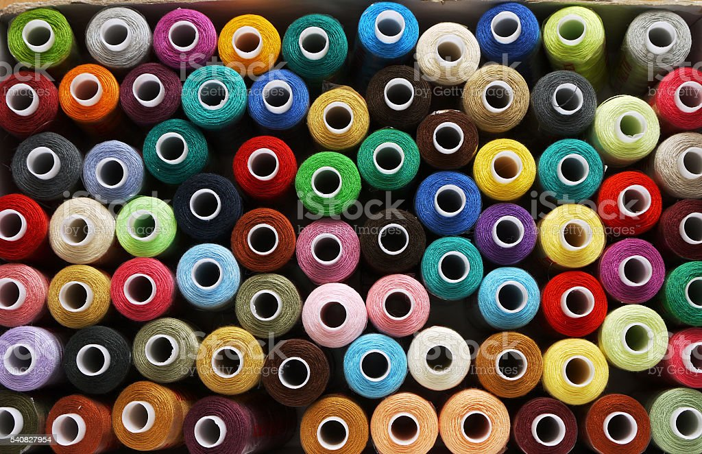 spools of threads stock photo