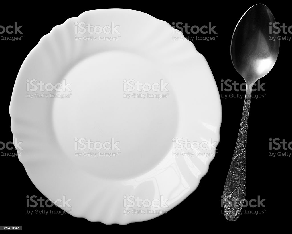 spoon and plate royalty-free stock photo