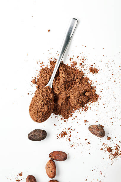 Spoon Cocoa Powder and Cocoa Beans Spoon Cocoa Powder and Cocoa Beans on the White Background cacao fruit stock pictures, royalty-free photos & images