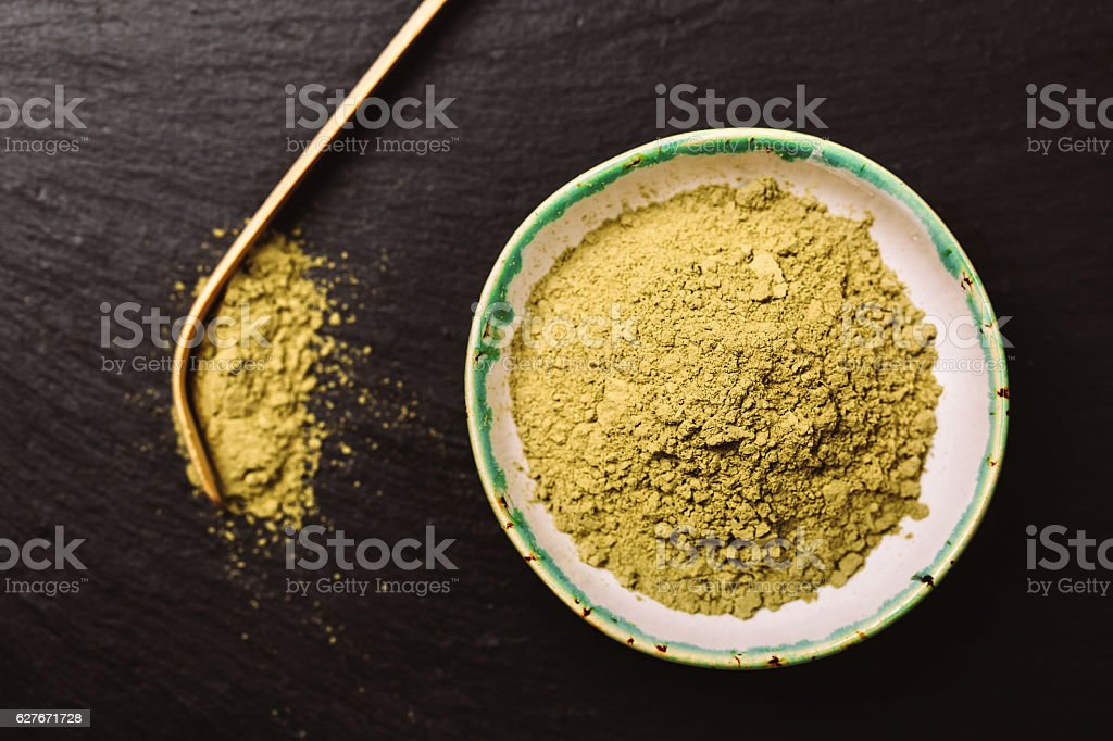 Spoon for matcha tea and green pouder stock photo