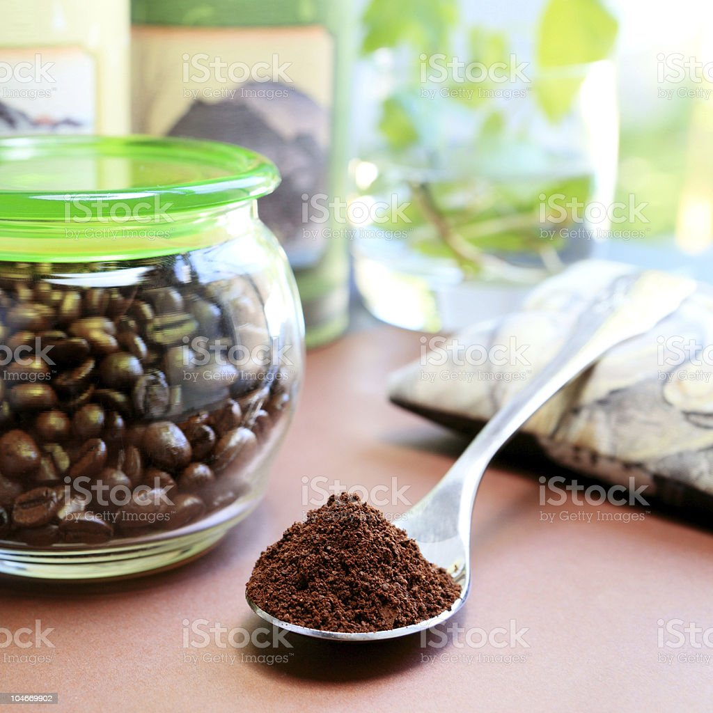 Spoon full of coffee royalty-free stock photo