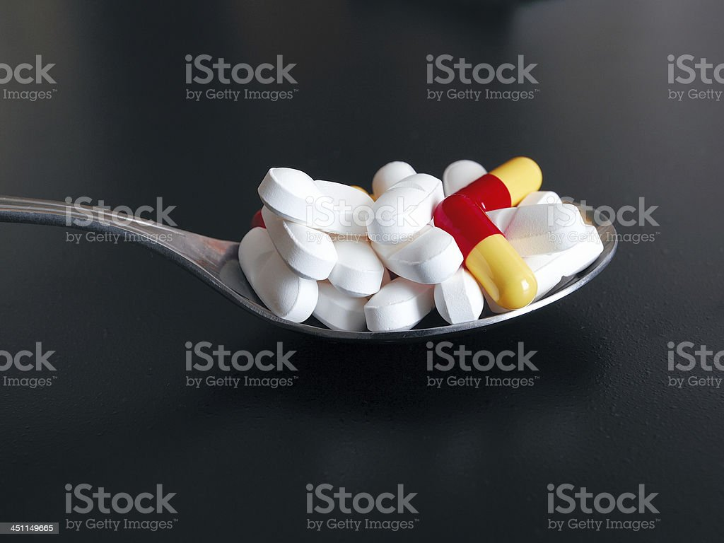 Spoon Full of Drugs royalty-free stock photo