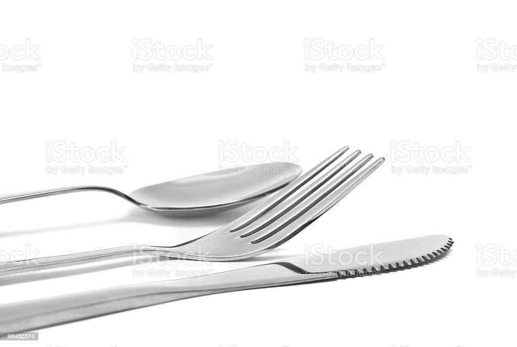 spoon, knife and fork. flatware isolated on white royalty-free stock photo
