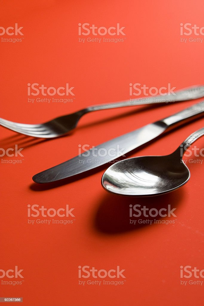 Spoon, knife and fork royalty-free stock photo
