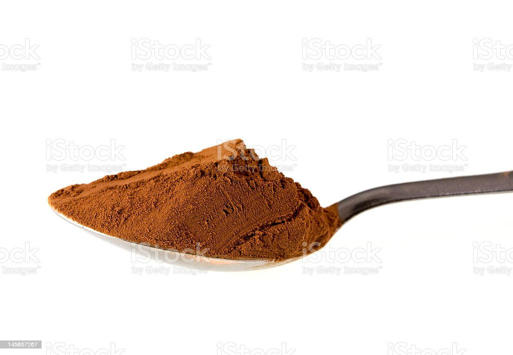 Spoon of cacao powder royalty-free stock photo