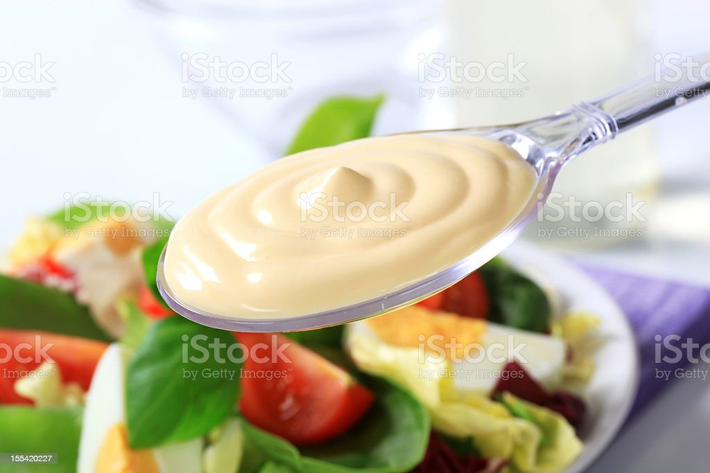 Spoon of mayonnaise and salad stock photo