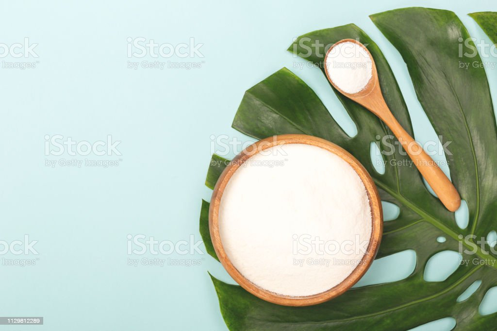 Spoon of powder collagen royalty-free stock photo