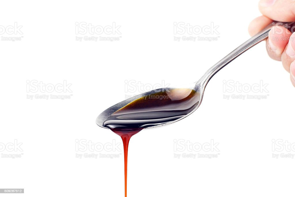 Spoon of Soya Sauce Ketchup stock photo