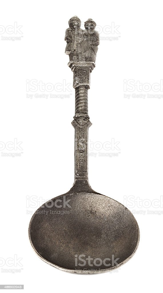 spoon old, vintage, antique, isolated, stock photo