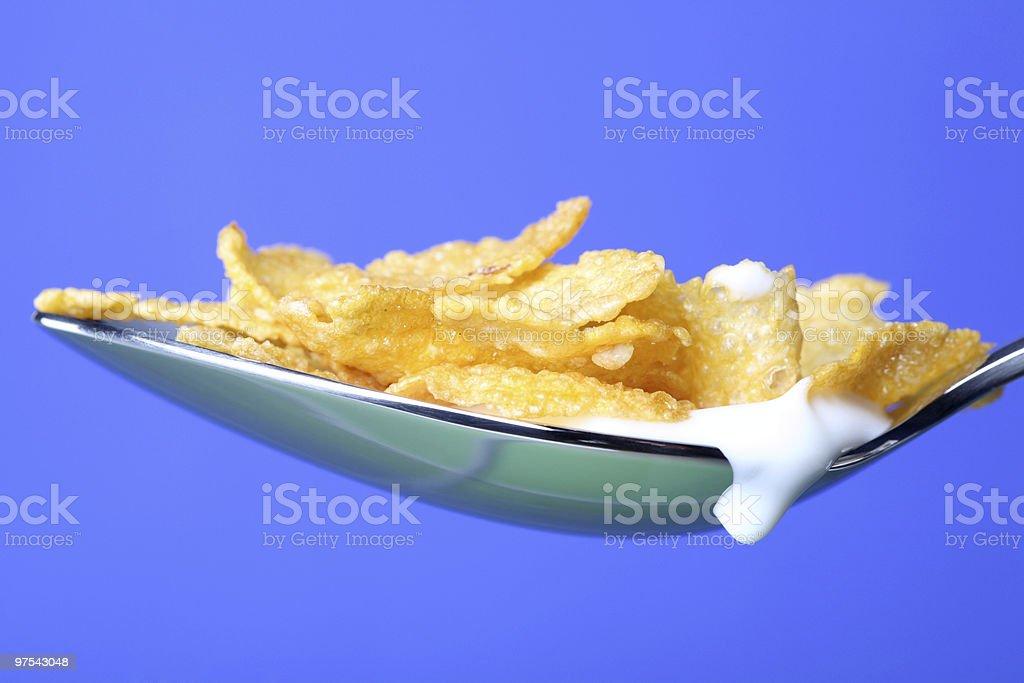 Cuillère avec Cornflakes gros plan photo libre de droits