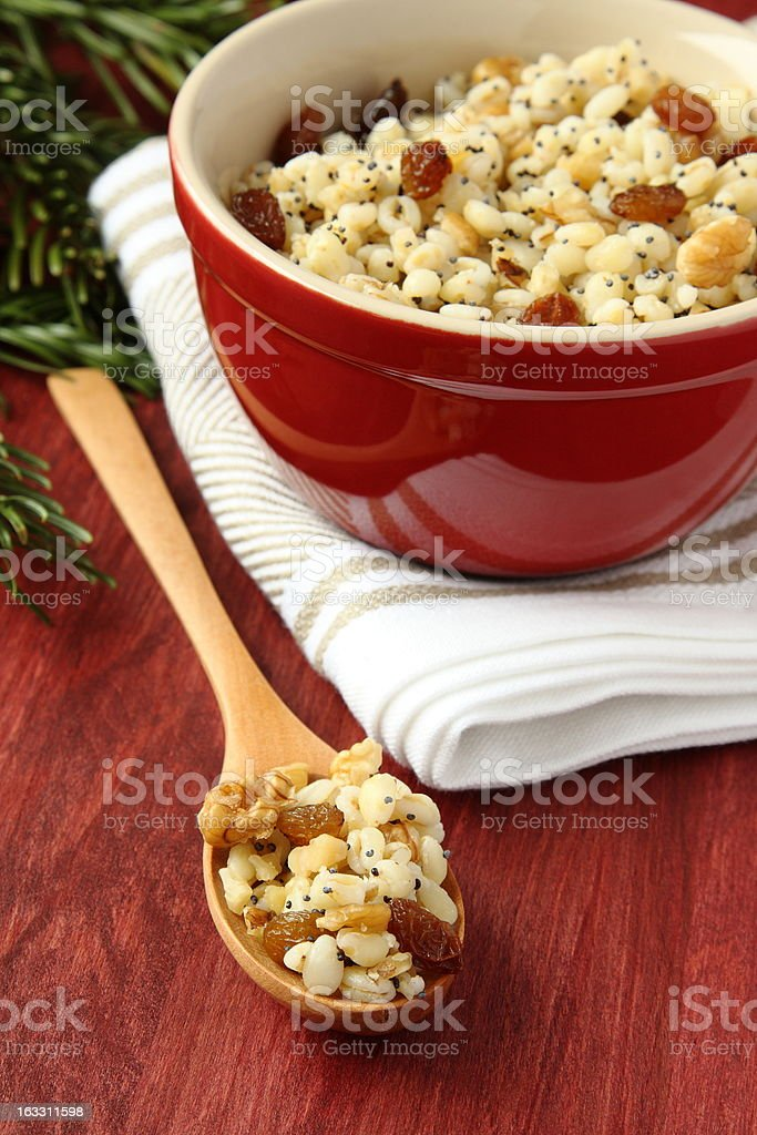 Spoon with kutia - traditional Christmas sweet meal royalty-free stock photo
