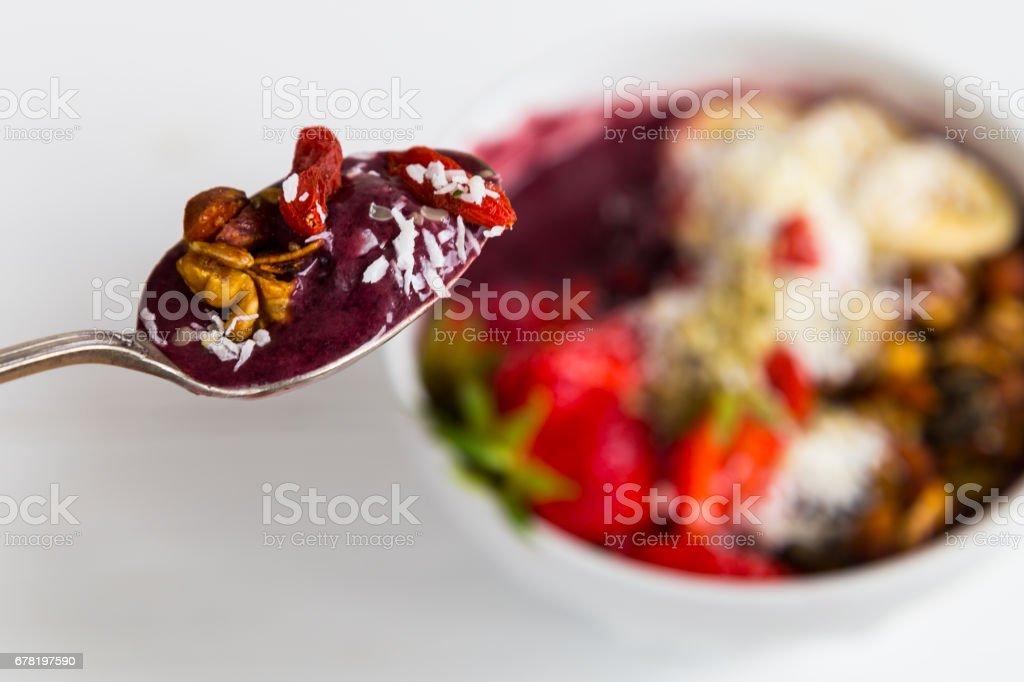 Spoonful of Acai breakfast stock photo