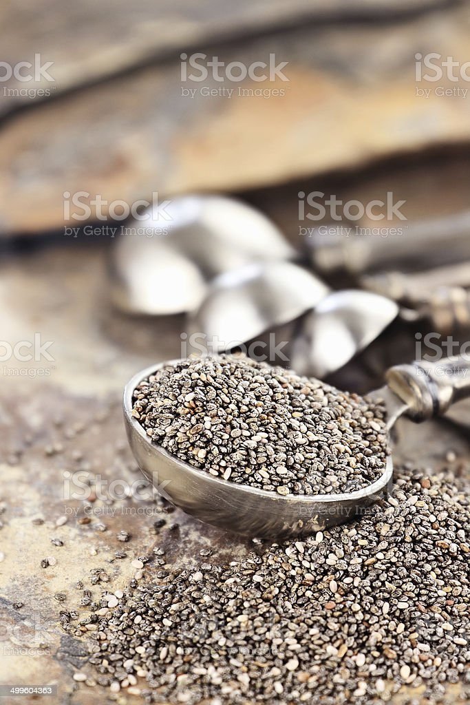 Spoonful of Chia Seeds royalty-free stock photo