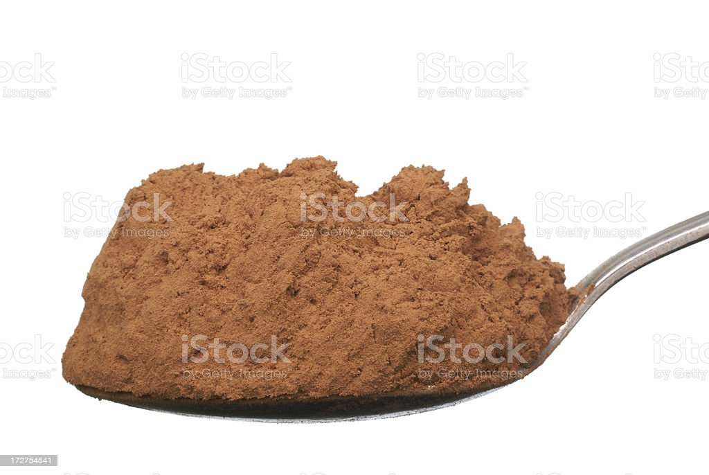 spoonful of cocoa on white royalty-free stock photo