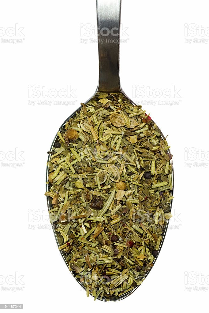 Spoonful of mixed herbs royalty-free stock photo