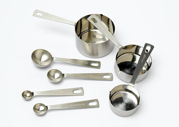 spoons and pots measuring equipment for cooking dry measure stock pictures, royalty-free photos & images