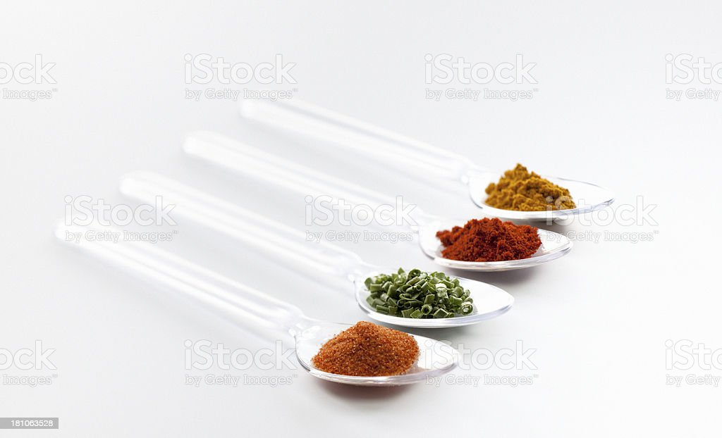 Spoons with spices royalty-free stock photo