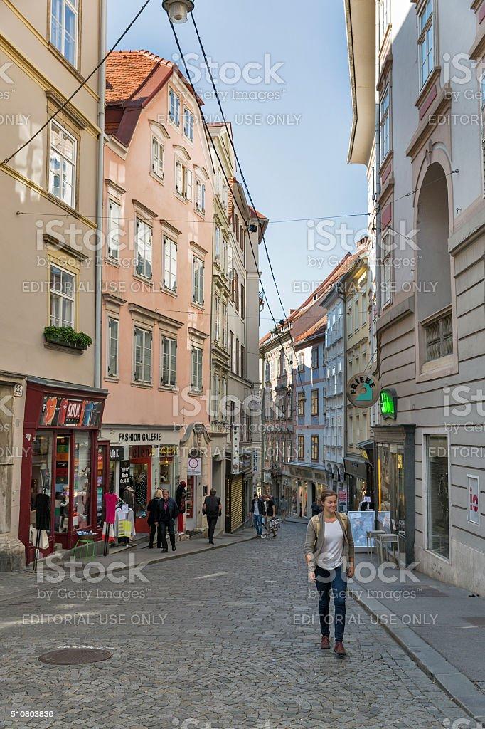 Sporgasse street in Graz Old Town, Austria. stock photo