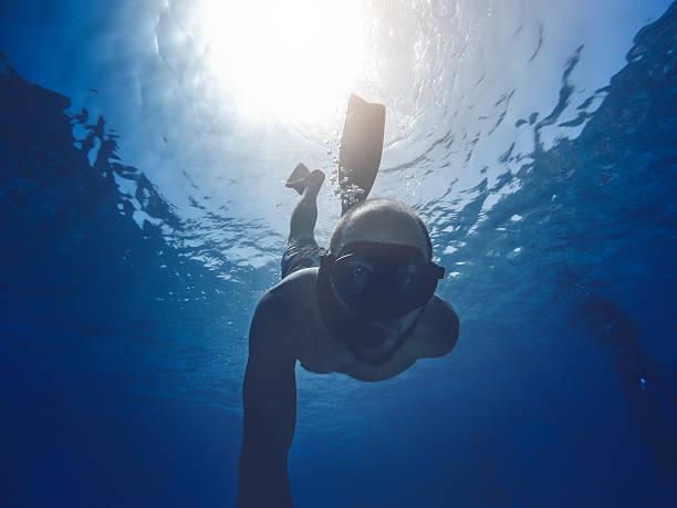 POV Sport and Activities: underwater selfie stock photo
