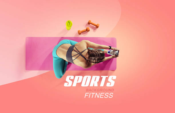 Sport and fitness backgrounds. Stretching. Isolated. Top view