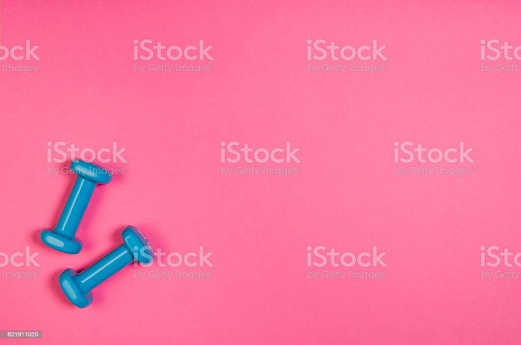 Sport and fitness colourful concept background, top view lay flat stock photo