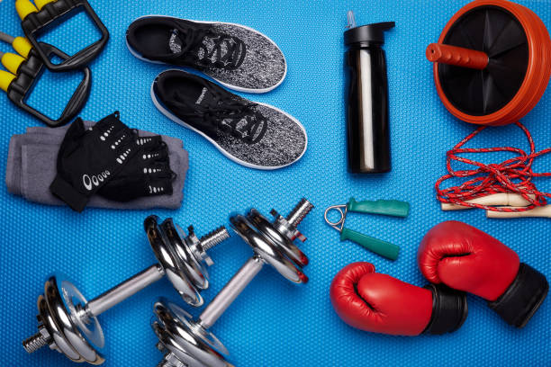 Sport and fitness equipment. stock photo