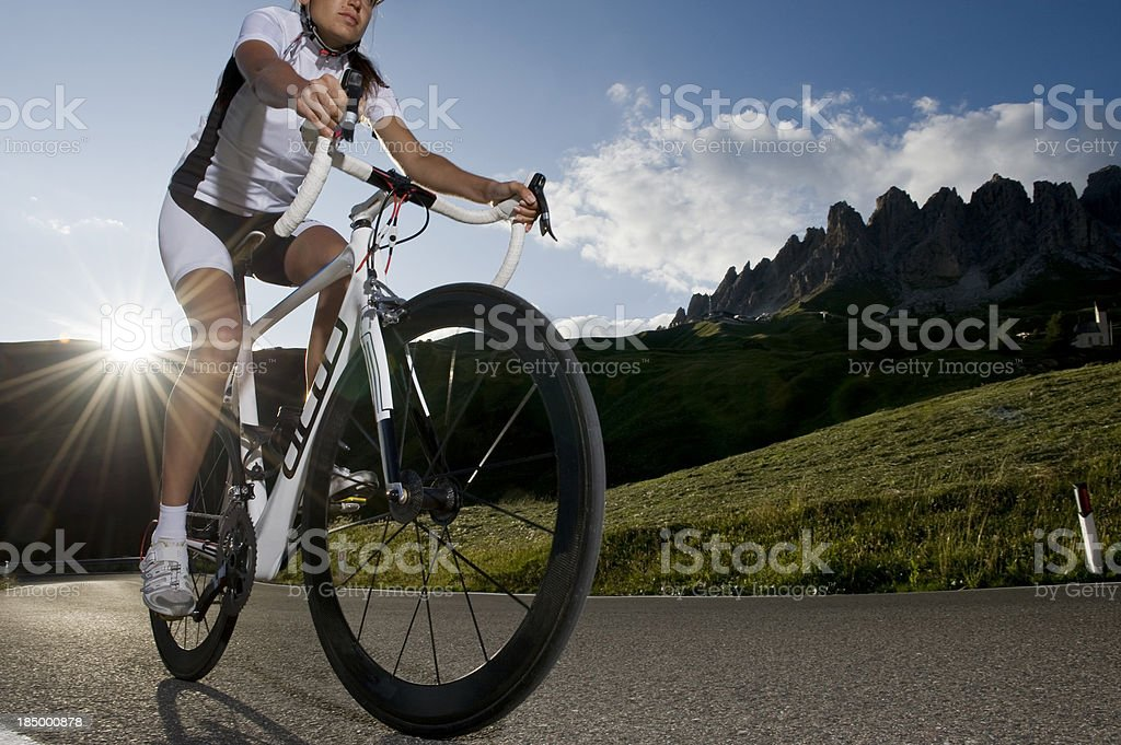 Sport athletes with road bike cycling on the Dolomites royalty-free stock photo
