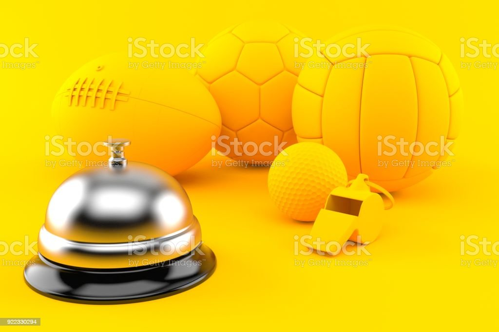Sport background with hotel bell stock photo