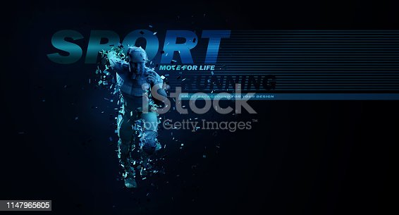 istock Sport backgrounds. Concept of a low poly running man. 3d render of the geometric runner in blue colors. 1147965605