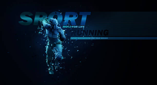 sport backgrounds. concept of a low poly running man. 3d render of the geometric runner in blue colors. - abstract logo stock photos and pictures