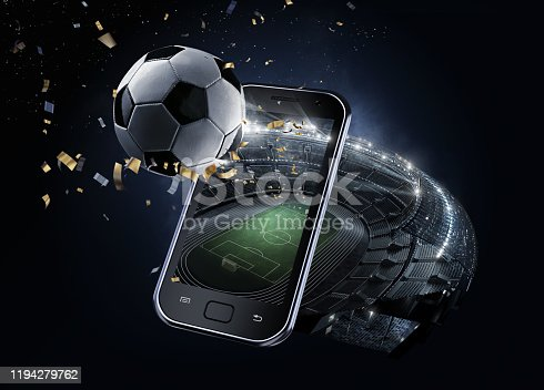 istock Sport Backgrounds. #d rendered Soccer stadium. View from mobile phone. Soccer ball before the star sky. Isolated on black. 1194279762