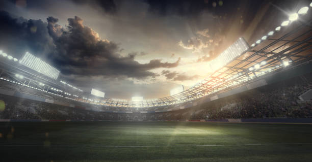 sport backgrounds. dramatic stadium. sport arena - dramatic sky stock photos and pictures