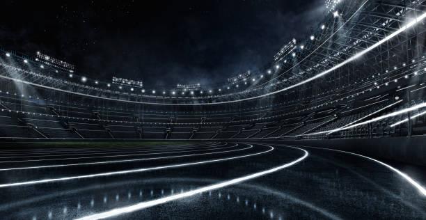 スポーツの背景。未来的なネオン輝くサッカースタジアムとランニングトラック。ドラマチックなシーン。3d レンダー イメージ。 - スタジアム ストックフォトと画像